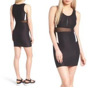 Topshop Black Bodycon Sporty Zip Dress